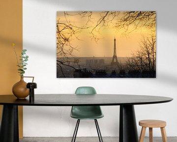 Zonsondergang Eiffeltoren vanaf Montmartre van Dennis van de Water