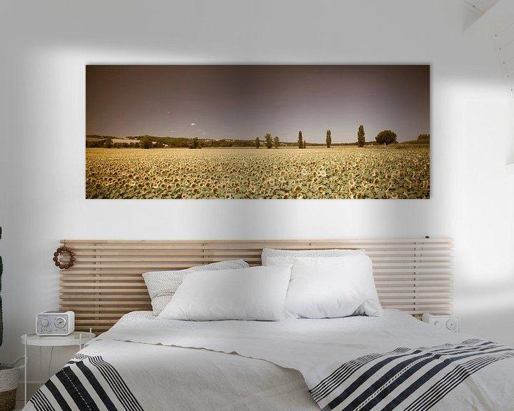 Sfeerimpressie: Zonnebloemveld Panorama Vintage look van Wim Slootweg