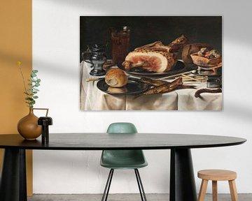 Still Life with Ham, Pieter Claesz.