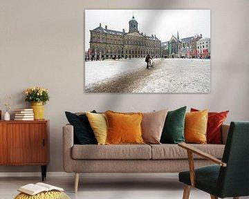 Das verschneite Amsterdam mit dem Königspalast auf dem Dam-Platz im Winter von Nisangha Masselink