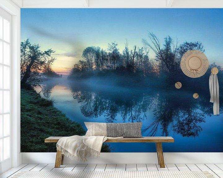 Sfeerimpressie behang: Reflectie tijdens blue hour in Leekster Hoofddiep van R Smallenbroek