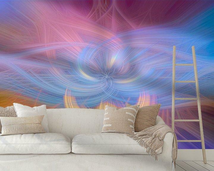 Sfeerimpressie behang: Digital abstract nr 5 van Leo Luijten