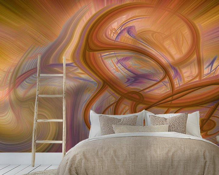 Sfeerimpressie behang: Digital abstract nr 6 van Leo Luijten
