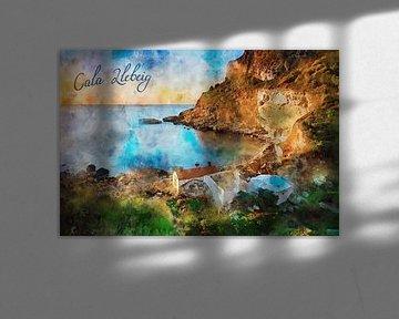 Aquarel Spanje Cala Llebeig Moraira van Peter Bolman