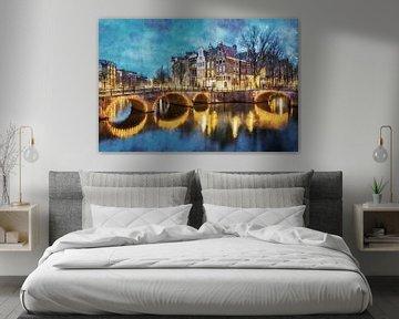Aquarel Keizersgracht Amsterdam van Peter Bolman
