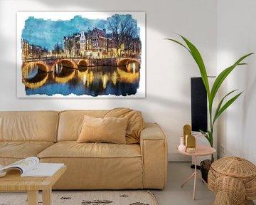 Aquarell Keizersgracht Amsterdam von Peter Bolman