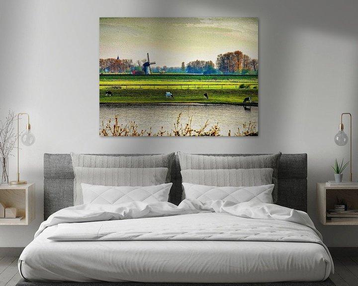 Beispiel: Niederländische Landschaft mit einer Windmühle von Vladimir Kozich