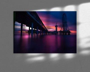 Pier Scheveningen Zonsondergang van Kevin Coellen