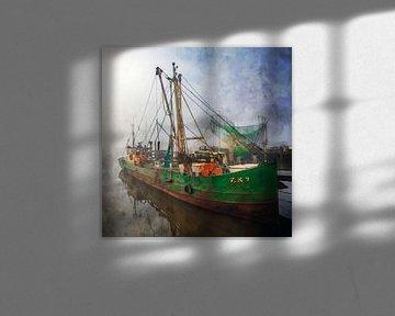 Aquarel vissersboot Zoutkamp in de mist van Peter Bolman