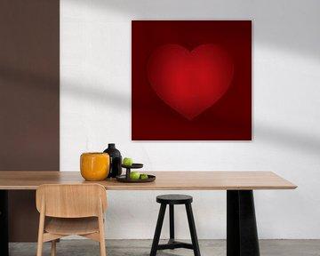 Herz für die Liebe rot auf rot