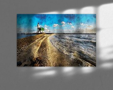 Aquarell des Leuchtturms Marken von Peter Bolman