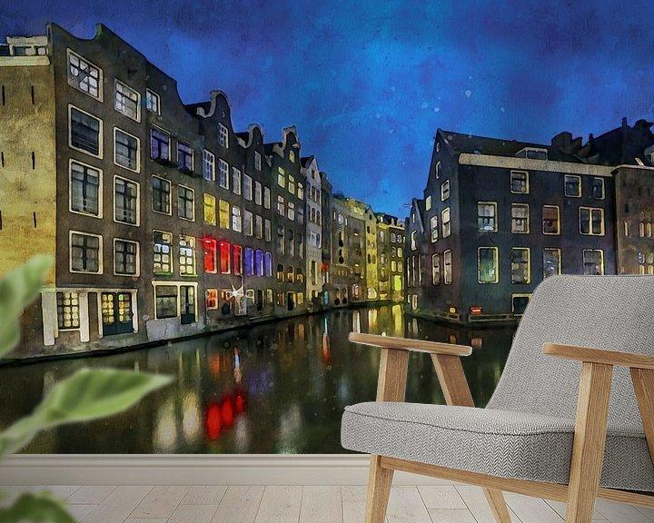 Beispiel fototapete: Aquarell Amsterdam von Peter Bolman