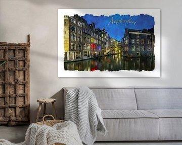 Aquarell Amsterdam von Peter Bolman
