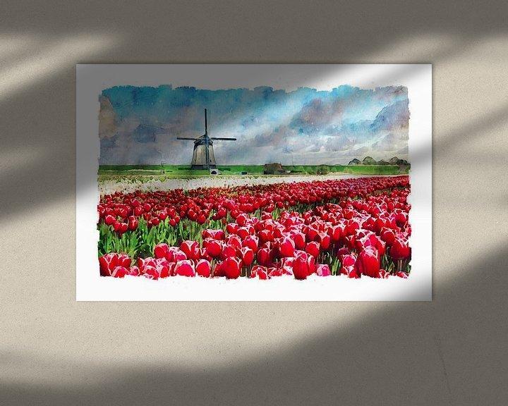 Beispiel: Aquarell mühle mit Tulpenfeld Schermerhorn Holland von Peter Bolman
