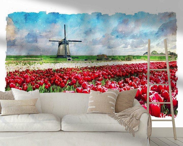 Beispiel fototapete: Aquarell mühle mit Tulpenfeld Schermerhorn Holland von Peter Bolman