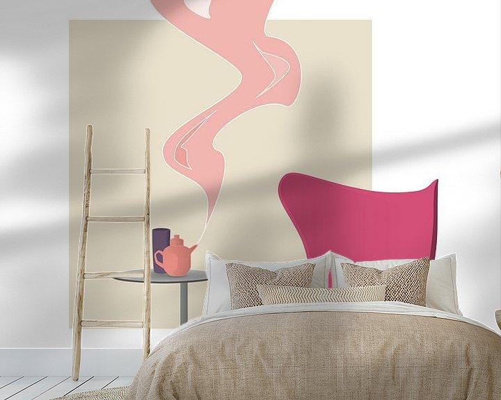 Sfeerimpressie behang: Design interieur illustratie met roze Egg Chair van Ebelien