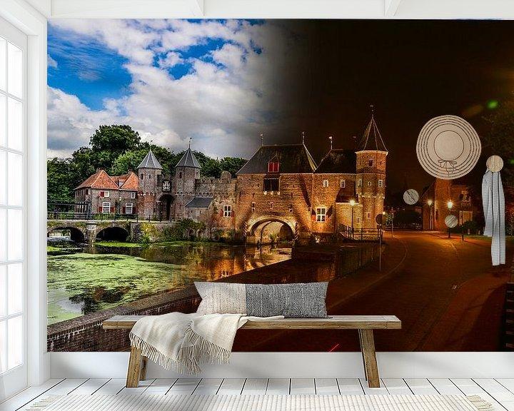 Beispiel fototapete: Koppeltor in Amersfoort Tag und Nacht von Robin van Maanen