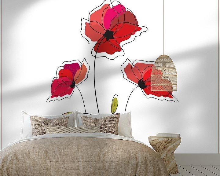 Beispiel fototapete: Mohn Mohn auf der weißen Illustration Zeichenkunst Wildrose von sarp demirel