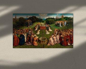 Jan van Eyck, Das Lamm Gottes zentrales Gremium der Anbetung, 1432