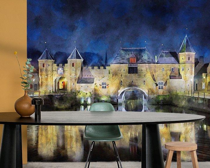 Sfeerimpressie behang: Aquarel Koppelpoort Amersfoort van Peter Bolman
