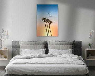 Palmbomen & zonsondergang van Melanie Viola