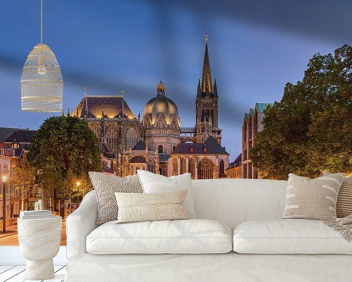 Beispiel fototapete: Aachener Dom am Abend von Michael Valjak