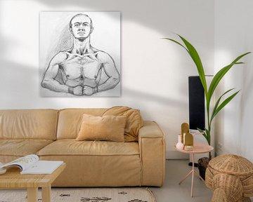 Zeichnung des Oberkörpers eines Mannes. von Therese Brals