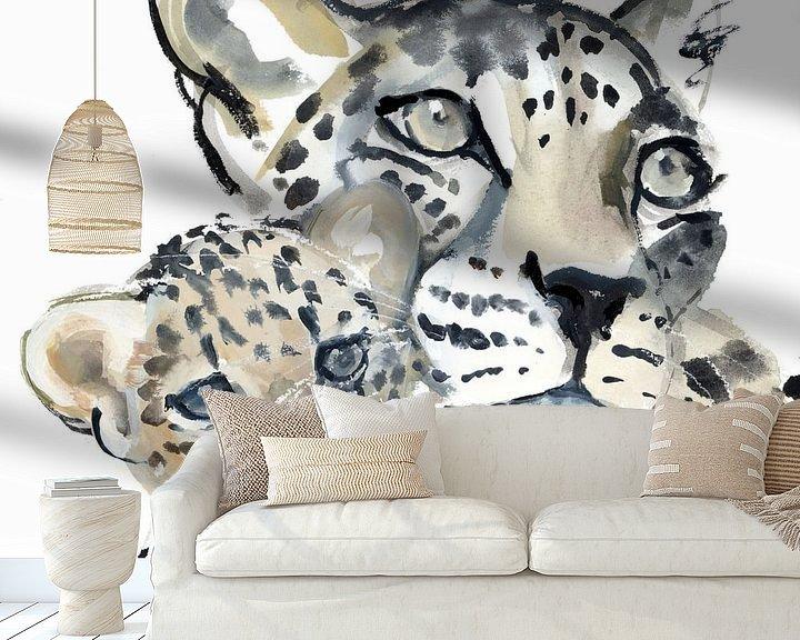 """Beispiel fototapete: Zwei Leoparden """"Mutter und Kind"""" von Mark Adlington"""
