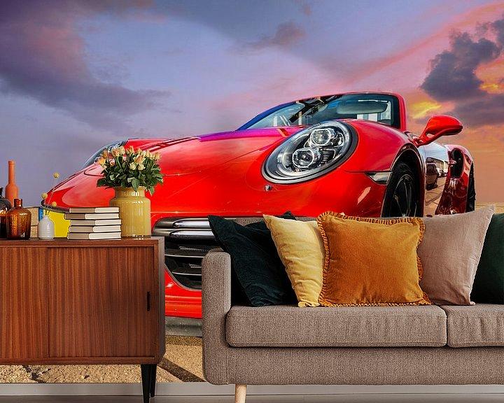 Sfeerimpressie behang: Porsche Rood van Brian Morgan