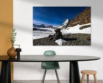 Een mooi beeld van de noordwestzijde van de iconische Matterhorn