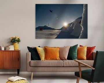 Skier en zonsondergang