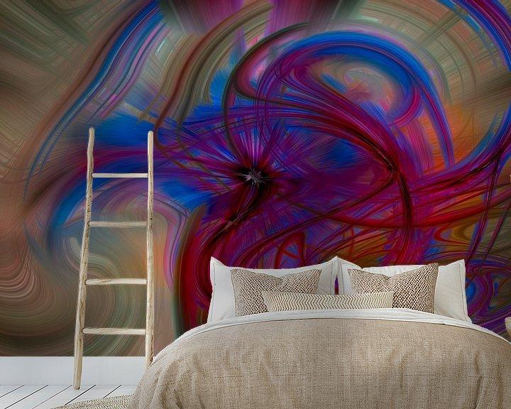 Sfeerimpressie behang: Digital abstract nr 12 van Leo Luijten