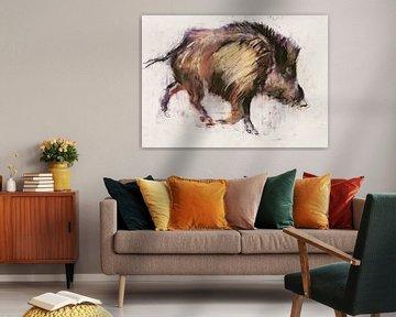 Wild Boar Trotting van Mark Adlington