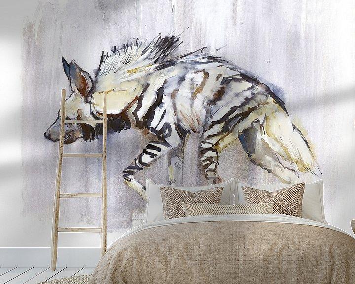Beispiel fototapete: Gestreifte Hyäne von Mark Adlington