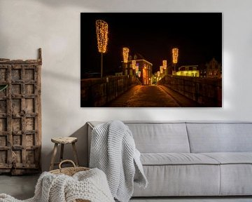 Roermond de nuit, pont Marie-Thérèse (pont de pierre) sur Carola Schellekens