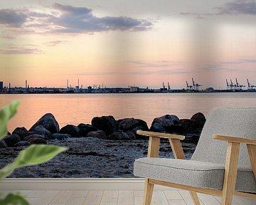 Aarhus strand, Denemarken ondergaandezon van Jeroen van Esseveldt