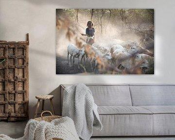 Meisje dat met haar geiten thuis komt | Ethiopië van Photolovers reisfotografie