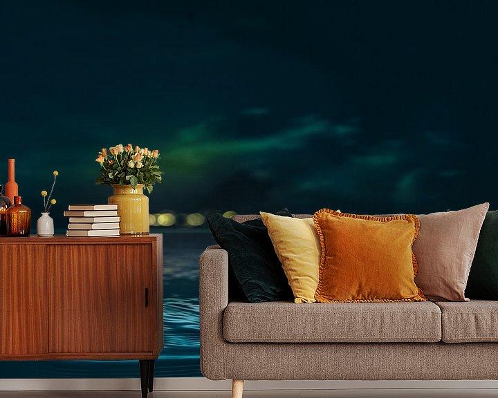 Sfeerimpressie behang: Night floating lights above the horizon van Adrien Hendrickx