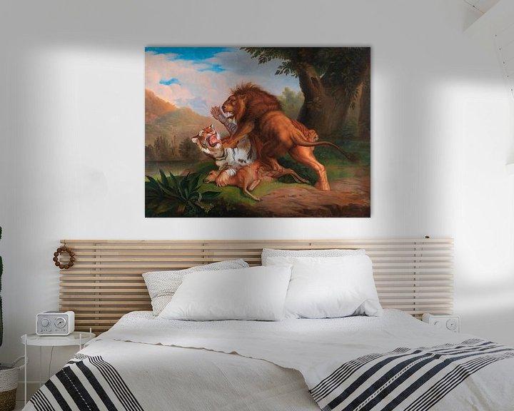 Beispiel: Tiger und Löwe streiten um ein Rehkitz, Johann Wenzel Peter