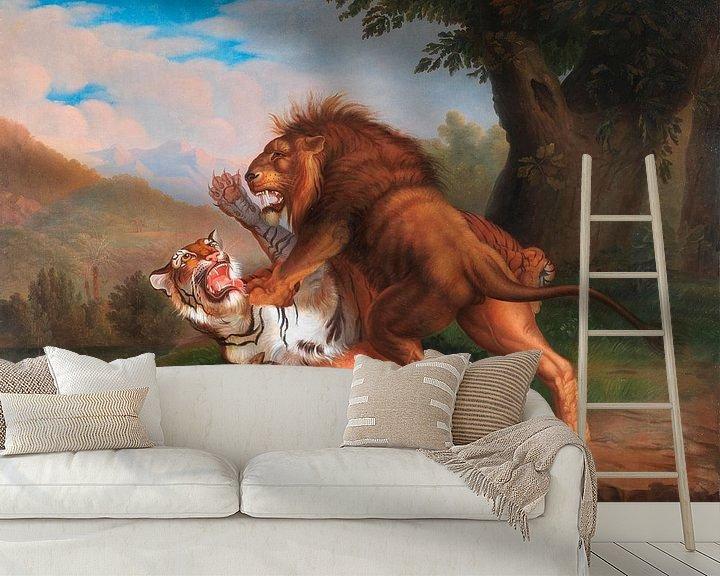 Beispiel fototapete: Tiger und Löwe streiten um ein Rehkitz, Johann Wenzel Peter