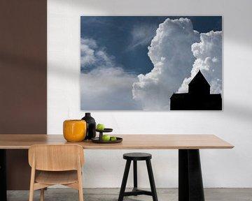 Silhouet van een kerk in de wolken | Armenië van Photolovers reisfotografie