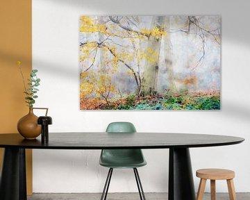 Aquarell eines nebligen Herbstwaldes von Peter Bolman