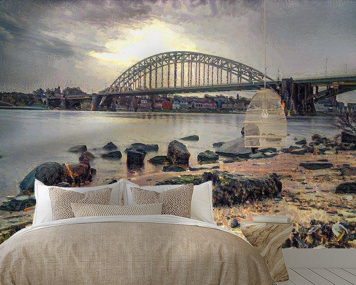 Sfeerimpressie behang: Impressionistisch kunstwerk van Nijmegen - Strandje, de Waal en de Waalkade van Slimme Kunst.nl