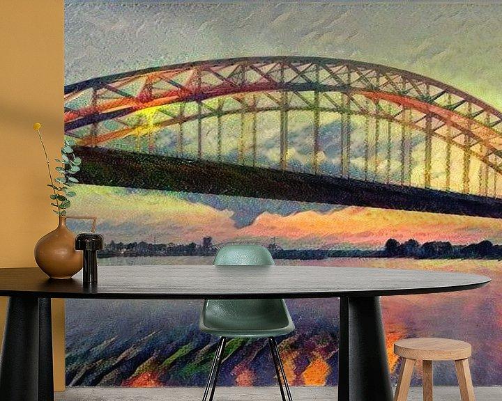 Sfeerimpressie behang: Panorama van Waalbrug - Sfeervol schilderij van Nijmegen van Slimme Kunst.nl