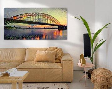 Panorama von Waalbrug - Atmosphärische Malerei von Nimwegen von Slimme Kunst.nl
