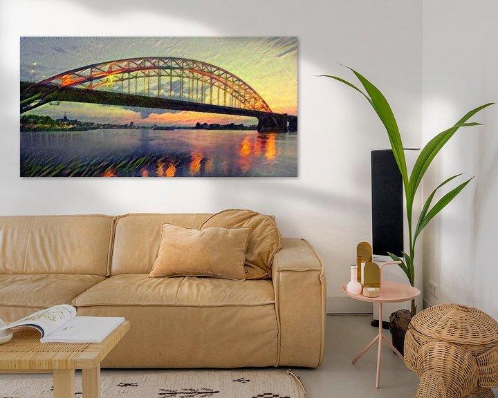 Sfeerimpressie: Panorama van Waalbrug - Sfeervol schilderij van Nijmegen van Slimme Kunst.nl