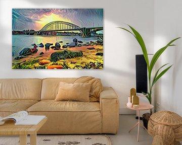 Abstrakte Kunst aus Nimwegen - Panoramagemälde der Waalbrücke bei Nimwegen von Slimme Kunst.nl