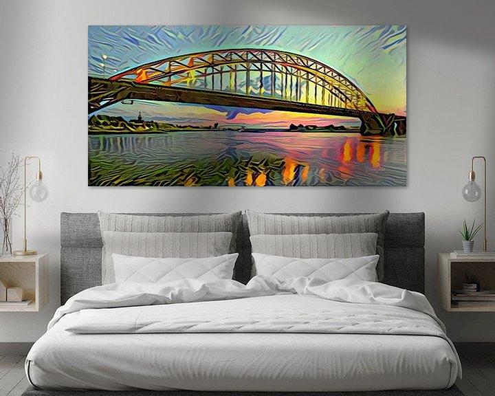 Sfeerimpressie: Abstracte skyline van Nijmegen - Panorama schilderij van de Waalbrug bij Nijmegen van Slimme Kunst.nl