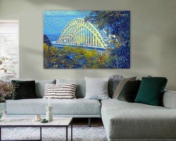 Kunstwerk Waalbrug van Nijmegen - gemalt mit unserem Algorithmus im Stil von Van Gogh von Slimme Kunst.nl