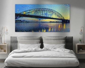 Skyline van Nijmegen in de stijl van Van Gogh - Warm panorama kunstwerk
